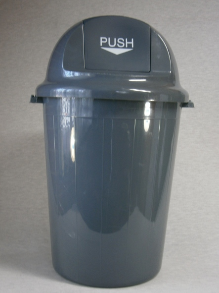 84lt Round Push Plastic Rubbish Bin - Dome Lid  Heavy Duty