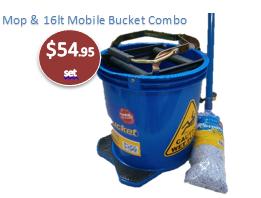 16lt Mop Bucket & 400gram mop & handle