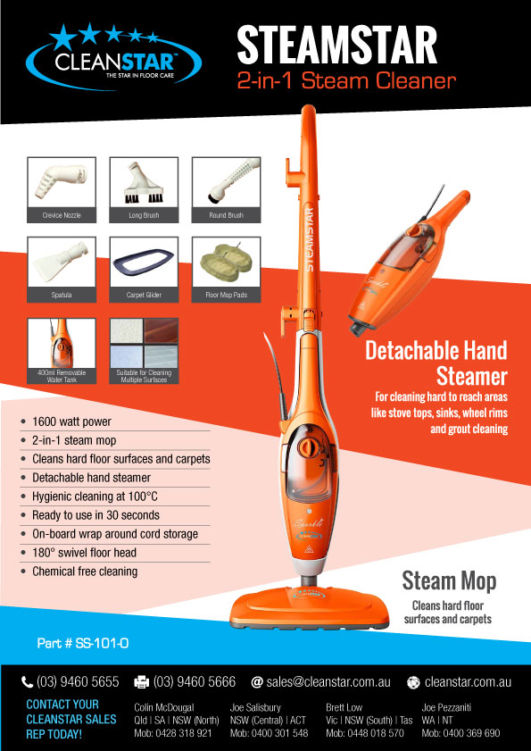 2 in 1-1600watt Steam Mop with Detacheble Hand Held Steamer