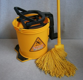 CLEARANCE SALE - 16lt Yellow All Plastic Mop Bucket with Mop & Handle