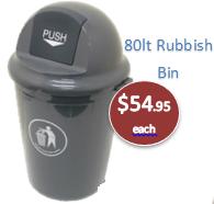 84lt Round Push Plastic Rubbish Bin - Dome Lid  Heavy Duty