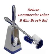 Deluxe Commercial Toilet & Rim Brush Set