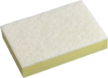 White & Yellow Soft Sponge/Scourer - Medium 10cm x 15cm