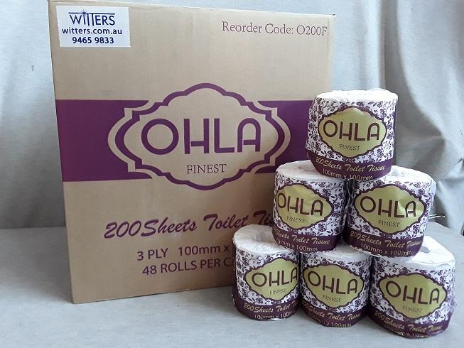 Ohla 3 Ply Toilet Paper - 200 sheet x 48 rolls