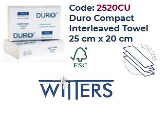 Duro Compact Interleaved Towel 25cm x 20cm - 2400 sheet