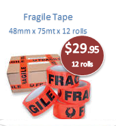 Fragile Tape 48mm x 66mt Black/Orange