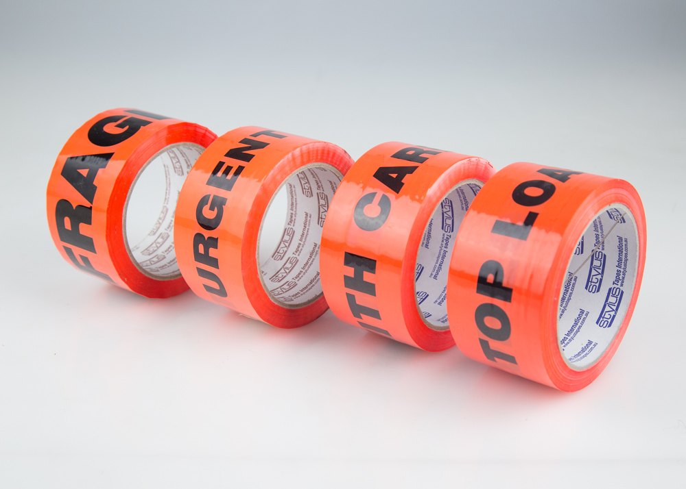 Message Tapes - Black/Orange 48mm x 66mt - Acrylic