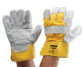 Yellow Grey Leather Gloves