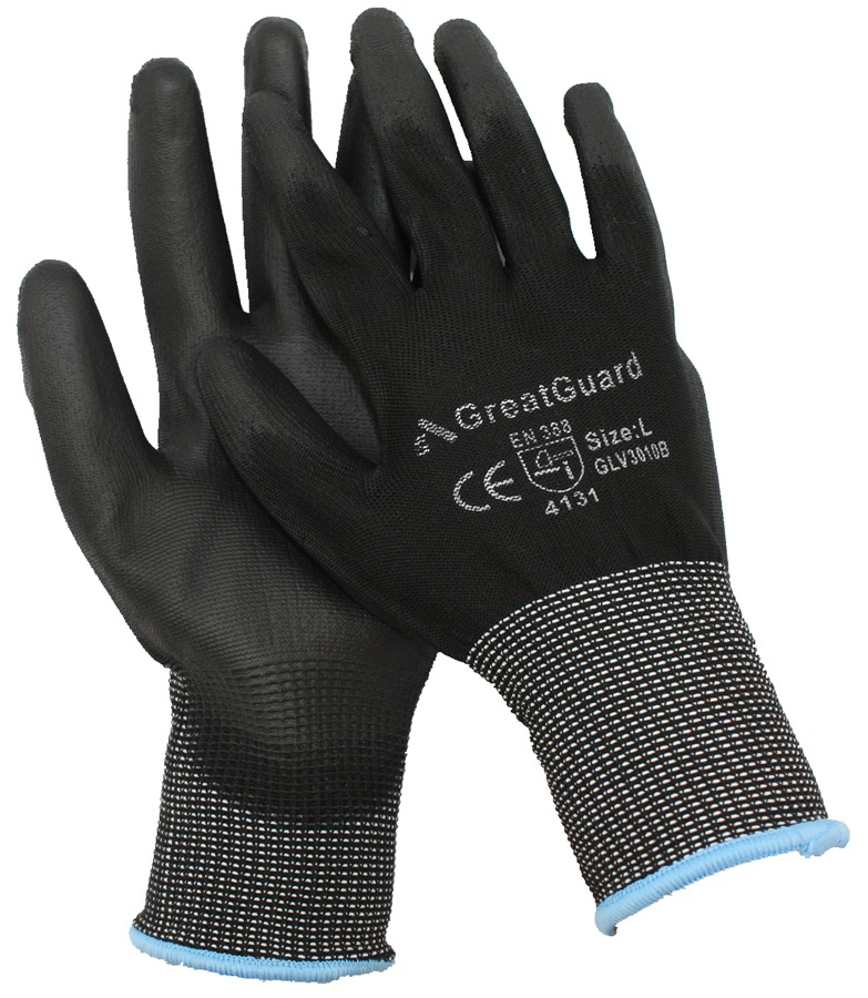 Black PU Palm Multi Purpose Work Gloves - Size Medium
