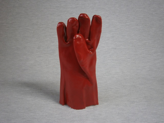 Red PVC Single Dip Gloves 35cm length