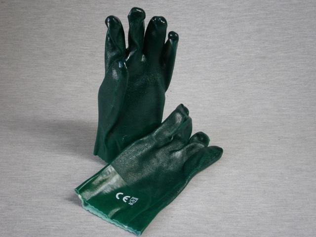 Green PVC Double Dip Gloves 27cm length