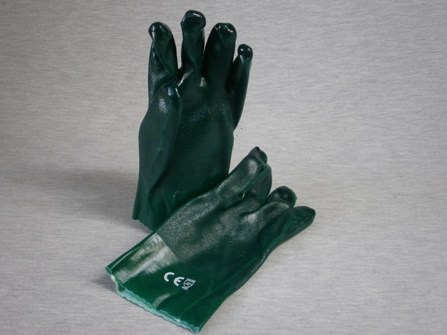 Green PVC Jersey Lined Gloves 27cm length - 120 pair