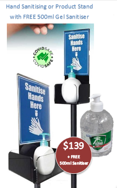 Hand Sanitsing Stand - Product Stand with safety chain
