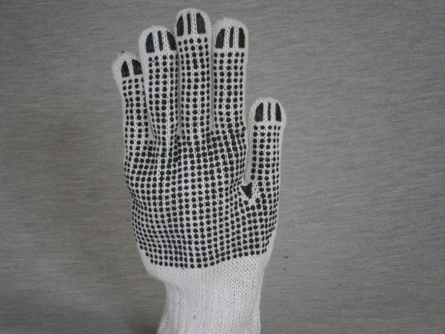Mens White Knitted Poly Cotton Gloves with black dots