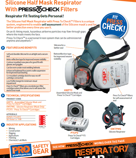 Assembled Pro Choice Half Face Resirator with PressToCheck Technology