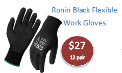 Ronin Black Nylon Shell w/black Nitrile Foam Coating