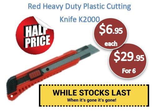 Red Heavy Duty Plastic Cutting Knife 18mm
