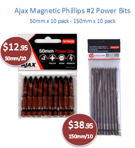 Ajax Magnetic Phillips #2 Power Bits